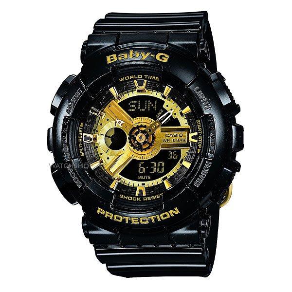 Часы женские Casio Baby-G Ba-110-1AПол: женские   Механизм: кварцевые   Материал корпуса: пластик   Стекло: минеральное   Тип браслета/ремня: пластиковый ремень   Водозащита: 100м   Мультифункциональные часы: да   Будильник: есть   Подсветка (кварц.): есть   Жидкокристаллический дисплей (кварц.): есть  Особенности:    Данная модель представлена в аналого-цифровом варианте (стрелки + Жидкокристаллический дисплей)   Светодиодная подсветка     Для освещения циферблата используется светодиод.   Мировое время     В данном режиме вы можете просмотреть местное время в некоторых основных городах и определенных регионах мира. Показания текущего времени в 48 городах (29 часовых зон).   Секундомер     Точное измерение истекшего времени касанием кнопки. Секундомер позволяет регистрировать отдельные отрезки времени, время с промежуточным результатом и время двойного финиша. Точность измерения 1/100 сек, запас измерения 24 часа.   Таймер обратного отсчета      Производит обратный отсчет, начиная с заданного вами времени. При окончании отсчета (0 минут, 0 секунд) издается 10-секундный сигнал. Максимальное время установки 24 часа - шаг измерения 1/1 сек, минимальное время установки 1 минута.   Будильник     Ежедневный сигнал звучит каждый день в установленное вами время. Можно установить до 5 независимых ежедневных сигналов.   Функция повтора сигнала будильника (SNOOZE)     Через несколько минут после остановки сигнала он повторяется.   Ежечасный сигнал     Функция ежечасного сигнала обеспечивает подачу часами звукового сигнала при наступлении каждого нового часа.   Включение/выключение звука кнопок     При желании звук кнопок при переходе из одного режима в другой может быть выключен. При этом звук будильника и таймера обратного отсчета будет работать независимо от этого.   Полностью автоматический календарь     Автоматически учитываются месяцы разной продолжительности и високосные годы.   12- и 24-часовой формат времени     Время может отображаться как в 12-часовом, так и в 24-ча