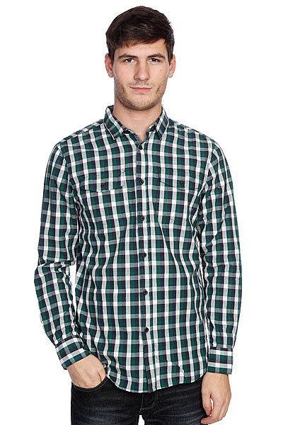 Рубашка в клетку Globe Attfield Shirt Fern Green<br><br>Цвет: белый,зеленый,серый<br>Тип: Рубашка в клетку<br>Возраст: Взрослый<br>Пол: Мужской