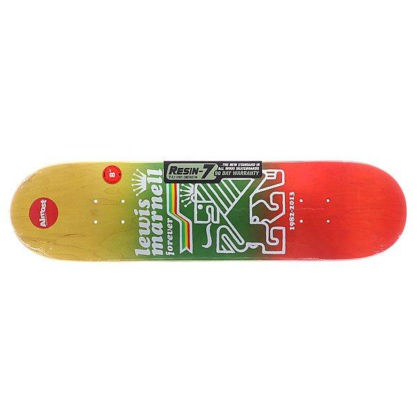 Дека для скейтборда для скейтборда Almost S5 Lewis Farewell R7 Rasta 31.6 x 8.0 (20.3 см)Ширина деки: 8.0 (20.3 см)    Длина деки: 31.6 (80.3 см)    Количество слоев: 7<br><br>Цвет: красный,зеленый,желтый<br>Тип: Дека для скейтборда<br>Возраст: Взрослый<br>Пол: Мужской