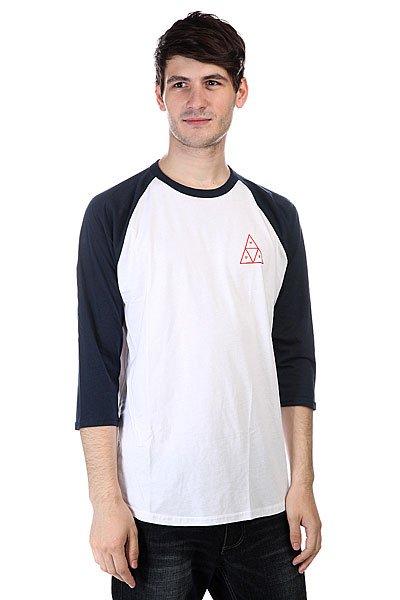 Лонгслив Huf Triple Triangle Raglan WhiteКонтрастная футболка в уличном стиле с лаконичным принтом от Huf.Технические характеристики: Комфортный хлопок.Рукава-реглан 3/4.Контрастные воротник и рукава.Графический принт на груди и на спине с логотипом Huf.<br><br>Цвет: белый,синий<br>Тип: Лонгслив<br>Возраст: Взрослый<br>Пол: Мужской
