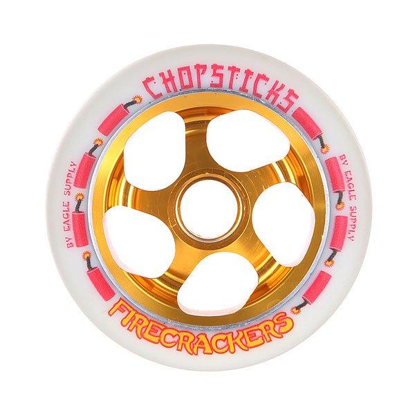 Колесо для самоката Chopsticks Firecrackers Wheel 110mm WhiteНовая брендовая модель колес по доступной цене с приемлемыми характеристиками.Характеристики:Изготовлены из металла и полиуретана. Комплектуются подшипниками и спейсерами.<br><br>Цвет: белый,оранжевый<br>Тип: Колесо для самоката