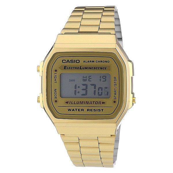 Часы Casio Collection A-168wg-9 GoldНаручные мужские часы по доступной цене. Классический дизайн с электронной индикацией включает в себя все основные функции: автоматический календарь, будильник и секундомер.Корпус и стекло выполнены из пластика (полимера) что делает их лёгкими и удобными в использовании. Браслет в свою очередь изготовлен из нержавеющей стали. Это позволяет служить им многие годы, не беспокоясь о его замене. Об этом говорят и отзывы поклонников моделей этой серии. Простота и функциональность обеспечивают высокий уровень продаж.Характеристики: Точность хода не хуже -10 +15 сек./в месяц.Точный кварцевый механизм.Функция секундомера с точностью измерений 1/100 сек. и общим временем 1 час.Автоматический календарь. Ежедневный будильник со звуковым сигналом.Функция повтора сигнала будильника (Snooze).Водостойкость 30 метров (3 АТМ). Браслет из нержавеющей стали. Срок службы батареи 7 лет.<br><br>Цвет: желтый<br>Тип: Электронные часы<br>Возраст: Взрослый<br>Пол: Мужской