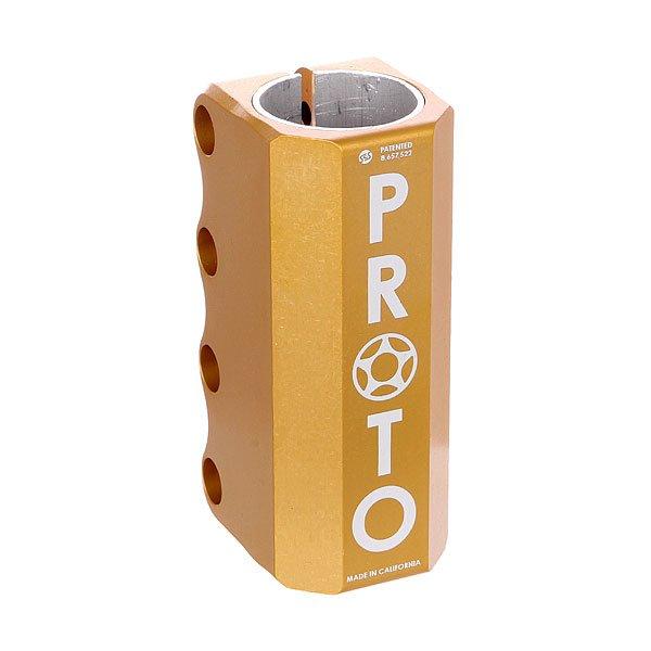 Зажимы Proto Scooters Full Knuckle Scs GoldProto Full - самый простой, сильный и универсальный зажим.Технические характеристики: Подходит только для стандартных размеров руля.Проставка, болты, компрессионный якорь в комплекте.Материал - алюминий.<br><br>Цвет: желтый<br>Тип: Зажимы