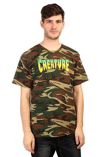 Футболка Creature Logo CamoПринты в футболках Creature действительно неповторимы. Где еще Вы встретите такой пугающе-симпатичный рисунок на одежде? Только в Creature!Технические характеристики: Фасон стандартный (Regular fit).Футболка в стиле Милитари.Логотип на груди.<br><br>Цвет: черный,зеленый,коричневый,камуфляжный<br>Тип: Футболка<br>Возраст: Взрослый<br>Пол: Мужской