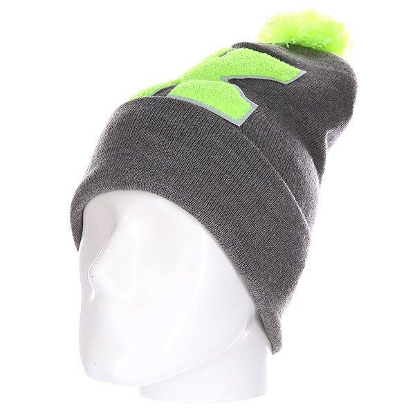 Шапка Truespin Abc Pompom Beanie Grey/Lime K<br><br>Цвет: серый,зеленый<br>Тип: Шапка<br>Возраст: Взрослый<br>Пол: Мужской