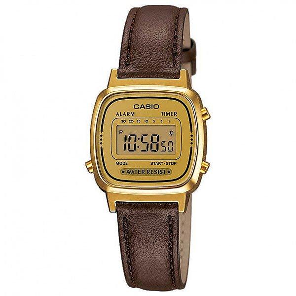 Часы Casio Collection 57149 La670Wegl-1E BrownЭлегантные часы в золотом корпусе.Технические характеристики: Функция секундомера - 1/10 сек. - 1 час.7  таймеров - 30 мин.Ежедневный будильник.Автоматический календарь.Корпус из полимерного пластика.Ремешок из натуральной кожи.Время работы аккумулятора - 2 года.Водонепроницаемость - модель устойчива к мелким брызгам. Любые контакты с большим количеством воды следует избегать.Точность +/- 30 сек в месяц.<br><br>Цвет: коричневый<br>Тип: Электронные часы<br>Возраст: Взрослый<br>Пол: Мужской