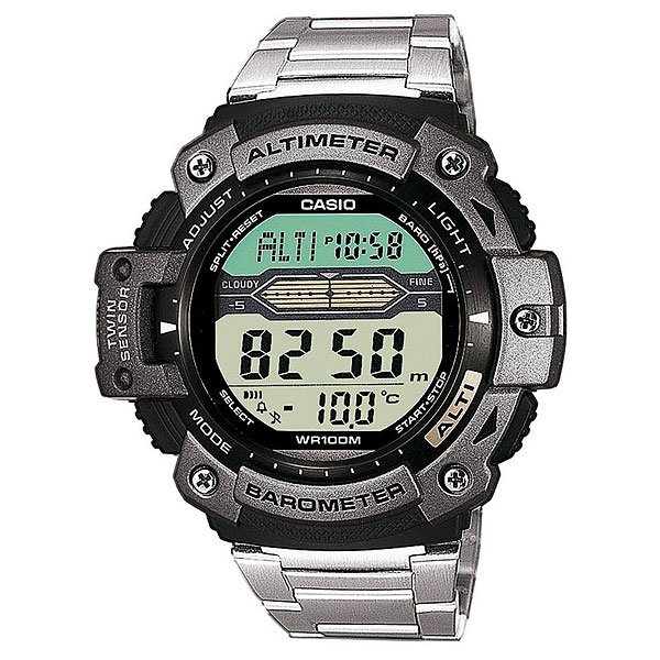 Часы Casio Collection Sgw-300hd-1a Black/GreyМногофункциональные наручные часы для туризма оснащенные барометром, альтиметром, датчиком температуры. Характеристики:Точный кварцевый механизм.Электрическая подсветка - для освещения циферблата используется светодиод.Альтиметр: встроенный датчик барометрического давления с возможностью вывода результатов в единицах высоты над уровнем моря. Максимальная высота - 10000 метров над уровнем моря. Барометр: встроенный датчик давления для измерения барометрического давления. Встроенный датчик температуры. Отображение текущего времени в основных городах и регионах мира. Секундомер с точностью показаний 1/100 сек и максимальным временем измерения - 24 час. Таймер обратного отсчета. Автоматический календарь. 5 ежедневных будильников. Срок службы батареи 3 года. Модуль часов рассчитан на работу при низких температурах. Браслет из нержавеющей стали. Браслетный замок с тройным сгибом, расстегиваемый одним касанием. Водозащита до 10 АТМ.<br><br>Цвет: черный,серый<br>Тип: Электронные часы<br>Возраст: Взрослый<br>Пол: Мужской