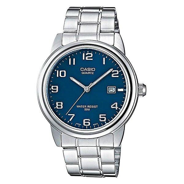 Часы Casio Collection Mtp-1221a-2a Grey/BlueДеловые мужские наручные часы в круглом корпусе из стали на литом браслете. Браслет комбинирован полированной и матовой сталью. Синий циферблат полностью обозначен арабскими цифрами. Характеристики:Необритовое светонакопительное покрытие обеспечивает длительное послесвечение в темноте даже после кратковременного нахождения на свету. Минеральное стекло устойчивое к возникновению царапин. Задняя крышка с винтовым фиксатором. Браслет из нержавеющей стали.Браслетный замок с тройным сгибом, расстегиваемый одним касанием. Срок службы батареи 3 года. Точность хода: не хуже +/-20 секунд в месяц.<br><br>Цвет: серый,синий<br>Тип: Кварцевые часы<br>Возраст: Взрослый<br>Пол: Мужской