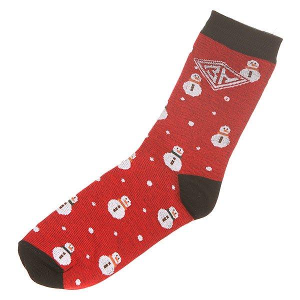 Носки средние женские Запорожец Снеговик Red/Black<br><br>Цвет: красный,черный<br>Тип: Носки средние<br>Возраст: Взрослый<br>Пол: Женский