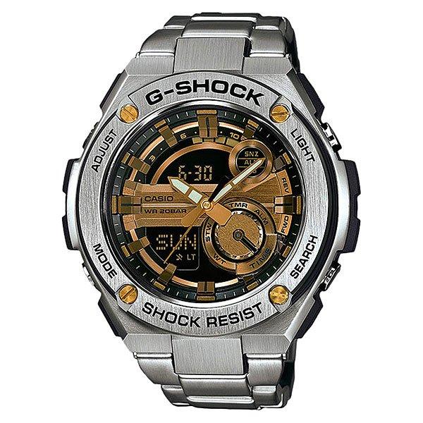 Электронные часы Casio G-Shock GST-210D-9AУдаропрочные и водостойкие наручные часы с исполнением премиум-класса, современный дизайн. Комбинированный корпус из нерж. стали и полимерного материала. Многофункциональный кварцевый механизм с цифроаналоговой индикацией и суперяркой LED-подсветкой.Характеристики:Кварцевый механизм, модуль 5475, с двойной цифроаналоговой индикацией, который управляется 4 кнопками. Два элемента питания SR927W рассчитан на работу в течение 2 лет. Точность хода с погрешностью +/- 15 сек в месяц. Функция мирового времени в 31 часовом поясе с обозначением 48 основных городов в этих временных зонах. Функция секундомера с точностью измерений 1/100 сек. и общим временем 24 часа. Режимы ADD и SPLIT. Таймер обратного отчета с точность 1 секунда и диапазоном от 1 минуты до 60 минут. Пять ежедневных будильников, один с функцией автоповтора «snooze» и ежечасный сигнал. Включение/выключение звука кнопок. Автоматический календарь с возможностью настройки даты до 2099 года.Отображение времени в 12/24-часовом формате. Сверхяркая электрическая подсветка с регулируемым временем свечения от 1,5 до 3 секунд. Автоматическая светодиодная LED-подсветка дисплея активируется как при нажатии соответствующей кнопки, так и при подъеме и повороте руки при недостаточной освещенности. Комбинированный корпус, с ударопрочной конструкцией выполнен из полимерного материала и элементов из нерж. стали, имеет дополнительно защиту от воздействия вибрации. Фронтальная поверхность корпуса из нержавеющей стали 316L, поверхности с матовой шлифовкой (сатинированием), IP-покрытие черного цвета. Корпус часов специально спроектирован с повышенной устойчивостью к воздействию вибрации. Безель из нержавеющей стали 316L с черным IP-покрытием. Минеральное стекло устойчивое к возникновению царапин.Объемный циферблат, 3D метки и стрелки с необритовым покрытием имеющим долгое послесвечение. Комбинированный ремешок из полимерного материала с тисненой поверхностью - прочный и долговечный, стандарт
