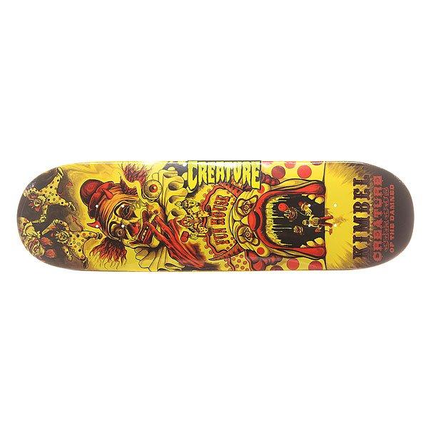 Дека для скейтборда для скейтборда Creature S6 Kimbel Circus Of The Damned 33 x 9.0 (22.9 см)Ширина деки: 9.0 (22.9 см)    Длина деки: 33 (83.8 см)    Количество слоев: 7Про-модель от Willis Kimbel из серии Creature Skateboards. Прочная дека из североамериканского клена способна выдержать максимальные нагрузки и воплотить Ваши идеи в реальность.Технические характеристики: Североамериканский клен.Конкейв Medium.Колесная база 38,1 см.<br><br>Цвет: оранжевый,желтый,черный<br>Тип: Дека для скейтборда<br>Возраст: Взрослый<br>Пол: Мужской