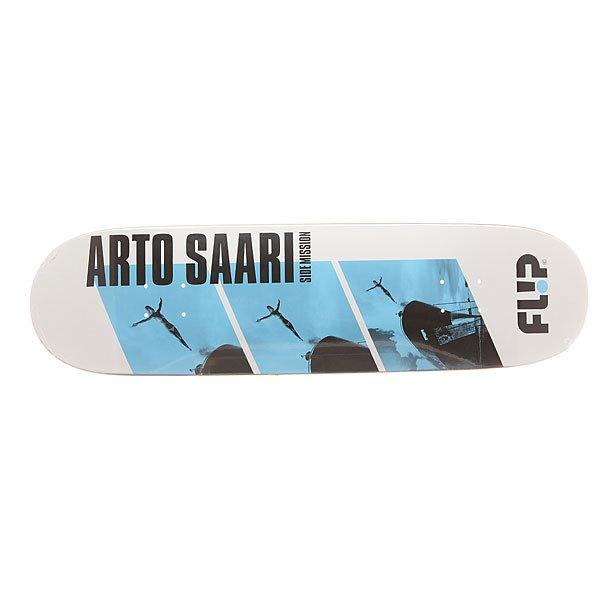 Дека для скейтборда для скейтборда Flip Saari Side Mission Diver 32.88 x 8.5 (21.6 см)Ширина деки: 8.5 (21.6 см)    Длина деки: 32.88 (83.5 см)    Количество слоев: 7Про-модель от Arto Saari. Прочная, но динамичная  дека из клена в оригинальном дизайне от Flip.Технические характеристики: Конструкция из 7 слоев клена.Конкейв Medium.Колесная база 38,1 см.<br><br>Цвет: черный,белый,голубой<br>Тип: Дека для скейтборда<br>Возраст: Взрослый<br>Пол: Мужской