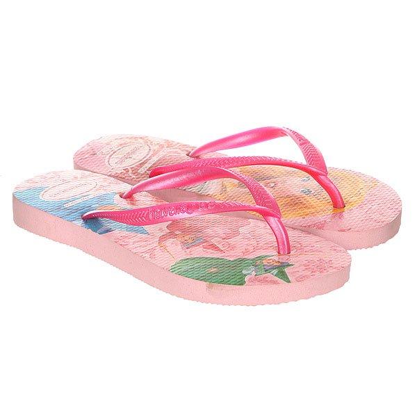 Вьетнамки детские Havaianas Slim Princess Pink<br><br>Цвет: розовый<br>Тип: Вьетнамки<br>Возраст: Детский