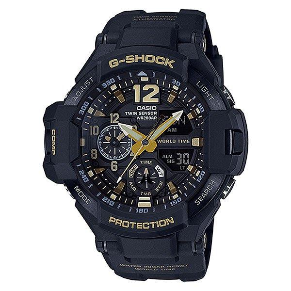 Электронные часы Casio G-shock Premium Ga-1100gb-1aУдаропрочные и водостойкие наручные часы с исполнением премиум-класса, авиационный дизайн. Комбинированный корпус из нерж.стали и полимерного материала. Цифроаналоговая индикация, отображение показаний компаса и термометра, мировое время.Характеристики:Кварцевый механизм, модуль 5441, с двойной цифроаналоговой индикацией, который управляется 5 кнопками и работает от двух батареек SR927W в течение 2 лет. Точность хода с погрешностью +/- 15 сек в месяц. Цифровой компас. Термометр с диапазоном измерений от -10 до +60°C). Функция мирового времени. Постоянное отображение времени второго часового пояса на маленьком индикаторе около отметки «9 часов». Функция секундомера с точностью измерений 1/100 сек. и общим временем 1 час. Таймер обратного отчета с диапазоном от 1 минуты до 1 часа. 5 ежедневных будильников и ежечасный сигнал. Функция перемещения стрелок – при нажатии на кнопки стрелки перемещаются в положение, позволяющее видеть информацию на маленьких цифровых дисплеях. Включение/выключение звука кнопок.Автоматический календарь. Отображение времени в 12/24-часовом формате.Сверх яркая электрическая подсветка с регулируемым временем свечения от 1,5 до 3 секунд. Комбинированный корпус, с ударопрочной конструкцией выполнен из полимерного материала и, имеет дополнительно защиту от воздействия вибрации. Корпус часов специально спроектирован с повышенной устойчивостью к воздействию вибрации.Безель из нержавеющей стали с черным IP-покрытием. Минеральное стекло устойчивое к возникновению царапин. Объемный циферблат, 3D метки и стрелки с необритовым покрытием имеющим долгое послесвечение. Водостойкость 200 метров (20 атм). Полимерный ремешок прочный и долговечный, литая застежка с шипом.<br><br>Цвет: черный<br>Тип: Электронные часы