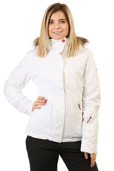 Куртка женская Roxy Jet Ski Sol Bright WhiteПриталенная и уютная сноубордическая куртка со съемным мехом. Стильная цветовая гамма для настроения, а надежная мембрана DryFlight® 10К и утеплитель Warmflight® будут держать Вас в тепле в холодные зимние дни.Технические характеристики: Мембрана DryFlight® 10К.Утеплитель Warmflight® (тело 120 г, рукава 100 г, капюшон 60 г).Подкладка из тафты со вставками из трикотажа с начесом.Критические швы проклеены.Три способа регулировки капюшона.Съемный капюшон.Съемная отделка капюшона из искусственного меха.Фиксированная снежная юбка из тафты с удобными кнопками.Система пристегивания куртки к штанам.Подкладка в районе подбородка.Внутренний медиа карман.Внутренний карман для маски.Брелок для ключей.Внутренние манжеты из лайкры.Кармашек для скипасса на рукаве.Карманы для рук с теплой подкладкой.Манжеты с регулировкой на липучках.Сеточная вентиляция на молнии.Подол на утяжке для защиты от ветра.Застежка на молнии с ветрозащитным клапаном на липучках.<br><br>Цвет: белый<br>Тип: Куртка утепленная<br>Возраст: Взрослый<br>Пол: Женский
