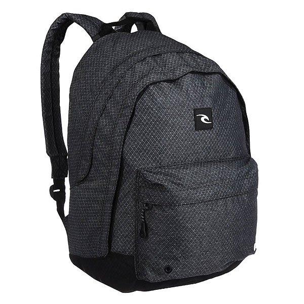 Рюкзак городской Rip Curl Htr Double Dome 90 BlackПросторный городской рюкзак со свободной организацией.Технические характеристики: Основное отделение на молнии.Передний карман на молнии.Мягкие и регулируемые плечевые ремни.Подходит для двойной папки A4.Резиновый логотип.<br><br>Цвет: черный,серый<br>Тип: Рюкзак городской<br>Возраст: Взрослый