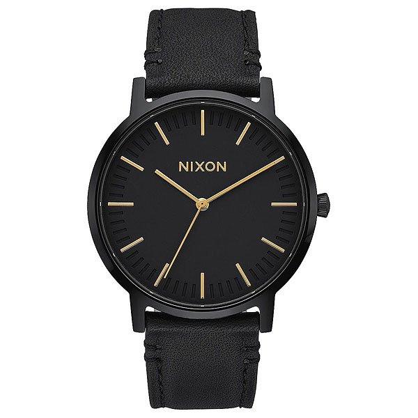 Кварцевые часы Nixon Porter Leather All Black/GoldЛегкая и лаконичная конструкция, не обремененная лишними деталями, которая всегда будет в тренде, как и любое классическое решение. Надежный японский кварцевый механизмMiyota обеспечит всегда верное расположение стрелок на циферблате, а прочный кожаный ремешок удачно завершает стильный и сдержанный внешний вид.Характеристики:Японский кварцевый механизмMiyota. 3 стрелки. Функции: часы, минуты, секунды. Корпус из нержавеющей стали. Задняя крышка из нержавеющей стали. Закалённое минеральное стекло. Двойная прокладка головки. Водонепроницаемость: 50 метров / 5 ATM. Пряжка из нержавеющей стали.Материал ремешка: натуральная кожа.<br><br>Тип: Кварцевые часы<br>Возраст: Взрослый<br>Пол: Мужской