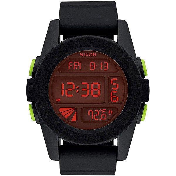 Электронные часы Nixon Unit All Black/RedКомпактные часы с выдающимися характеристиками.Технические характеристики: Дисплей с двойным временем, календарем, датчиком температуры, таймером обратного отсчета, хронографом, будильником и подсветкой.LCD дисплей из поликарбоната.Литой корпус и фиксированный безель из поликарбоната.Закаленное минеральное стекло.Литые, формованные кнопки из поликарбоната.Литой силиконовый ремешок с запатентованной блокировкой и пряжкой из поликарбоната.<br><br>Тип: Электронные часы<br>Возраст: Взрослый<br>Пол: Мужской