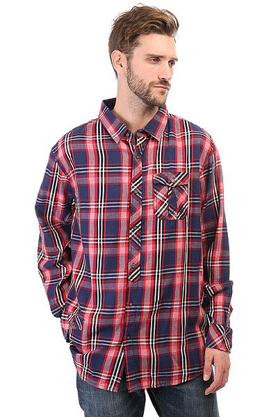 Рубашка в клетку Zoo York Hillcrest Navy<br><br>Цвет: красный,синий<br>Тип: Рубашка в клетку<br>Возраст: Взрослый<br>Пол: Мужской