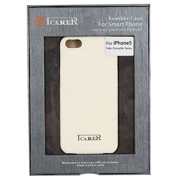 Чехол для iPhone 5 Icarer fake crocodile series White<br><br>Цвет: белый<br>Тип: Чехол для iPhone