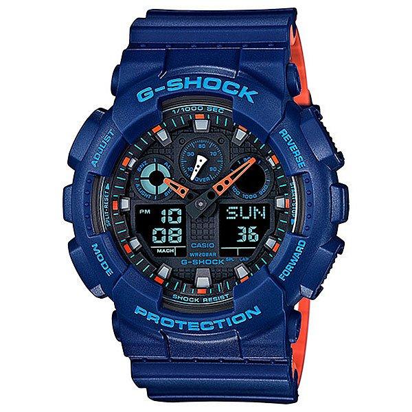 Электронные часы Casio G-Shock Ga-100l-2a BlueХаризматичная новинка G-SHOCK изсерии GA-100с гранжевым ALLROUND-принтом белого цвета в виде потрескавшейся иссушенной земли.Чтобы добавить принту реалистичности в Casio впервые применили подобную технику: сначала корпус и ремешок часов полностью заливали краской, после чего лазером выжигали места трещин. Подобная технология позволила создать крайне реалистичный растрескавшийся принт. Но не стоит беспокоиться, новый визуальный облик часов не повлиял на их непревзойденную противоударность и неубиваемость.Характеристики:5 ежедневных будильников. Функция повтора будильника. 12/24-часовое отображение времени. Минеральное стекло. Ремешок из полимерного материала. Автоматическая светодиодная подсветка. Функция мирового времени. Автоматический календарь. Корпус из нержавеющей стали и полимерного пластика. Водонепроницаемость (20 БАР). 2 года - 1 аккумулятор. Таймер - 1/1 мин. - 24 часа (с автоматическим повтором). Устойчивость к воздействию магнитного поля. Функция секундомера - 1/1000 сек. - 100 часов. Отображение скорости.<br><br>Цвет: синий<br>Тип: Электронные часы<br>Возраст: Взрослый<br>Пол: Мужской