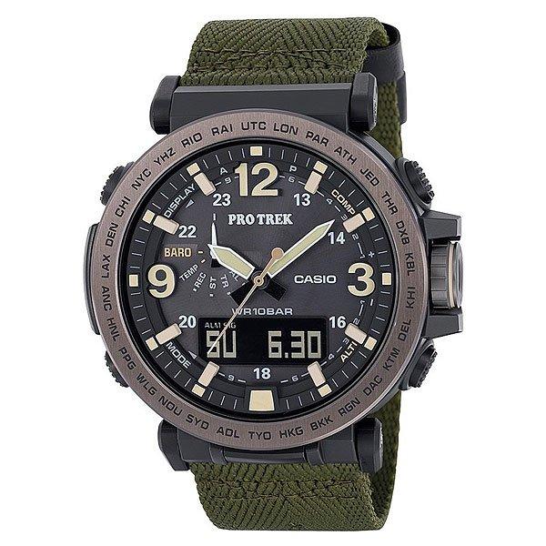 Электронные часы Casio Sport Prg-600yb-3e Black/GreenМужские наручные часы CASIO PRG-600-1ER пополнили популярную коллекцию наручных часов CASIO PRO TREK. Корпус изготовленный из полимерного пластика надёжно защищает кварцевый механизм часов, ремешок изготовлен из полимерного материала, минеральное стекло защитит циферблат от мелких царапин и повреждений. Водонепроницаемость 10 Бар (100 метров) позволяет купаться и нырять с маской и трубкой, бесперебойную работу часов обеспечивает солнечная батарейка. В тёмное время суток для отображения времени используется светодиодная подсветка. Характеристики:Светодиодная подсветка.Солнечная батарейка. Неоновый дисплей.Барометр.Термометр.Цифровой компас. Высотометр. Мировое время.Секундомер. Таймер. Будильник с функцией повтора.Включение/выключение звука кнопок. 12/24-часовое отображение времени. Календарь. Минеральное стекло.Корпус из полимерного пластика.Ремешок из полимерного материала.Индикатор уровня заряда батарейки.Водонепроницаемость 100 м.Кварцевый механизм часов обеспечивает точность хода +/- 20 сек в месяц.<br><br>Цвет: черный,зеленый<br>Тип: Электронные часы<br>Возраст: Взрослый<br>Пол: Мужской