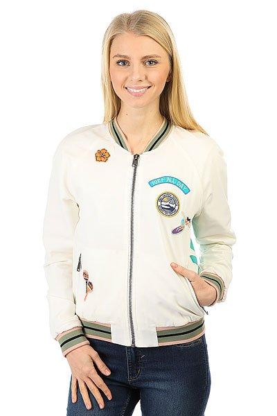 Бомбер женский Roxy Sgbomberjacket MarshmellowЛегкая куртка-бомбер для весеннего сезона.Характеристики:Застежка-молния. Эластичные манжеты на рукавах, поясе и воротнике.Карманы на молниях. Декоративный принт.<br><br>Цвет: бежевый<br>Тип: Бомбер<br>Возраст: Взрослый<br>Пол: Женский
