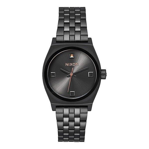 Кварцевые часы женские Nixon Small Time Teller Black Crystal/Rose Gold<br><br>Цвет: черный<br>Тип: Кварцевые часы<br>Возраст: Взрослый<br>Пол: Женский