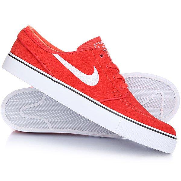 Кеды кроссовки низкие Nike Zoom Stefan Janoski Max Orange/White BlackЛегендарная модель Nike Zoom Stefan Janoski уже стала классикой и завоевала любовь огромного числа скейтеров. Прочный верх будет устойчив к износу, цепкий протектор обеспечит необходимое сцепление с доской, а технология Zoom подарит впечатляющую амортизацию. Отличная модель, которая также будет радовать Вас и в повседневной носке.Характеристики:Прочный верх. Модуль Zoom Air в стельке для амортизации. Технология амортизации Nike Zoom. Гибкая вулканизированная подошва с цепким протектором ёлочка.Тонкий текстильный язычок с плотным прилеганием. Вышитый фирменный логотип сбоку. Нашивка с фирменным логотипом на язычке. Перфорация для вентиляции в области носа.<br><br>Цвет: красный<br>Тип: Кеды низкие<br>Возраст: Взрослый<br>Пол: Мужской