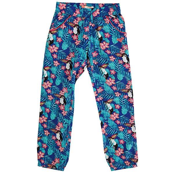 Штаны прямые детские Roxy Not Homeloving Royal Blue Toucan Ta<br><br>Цвет: синий,мультиколор<br>Тип: Штаны прямые<br>Возраст: Детский