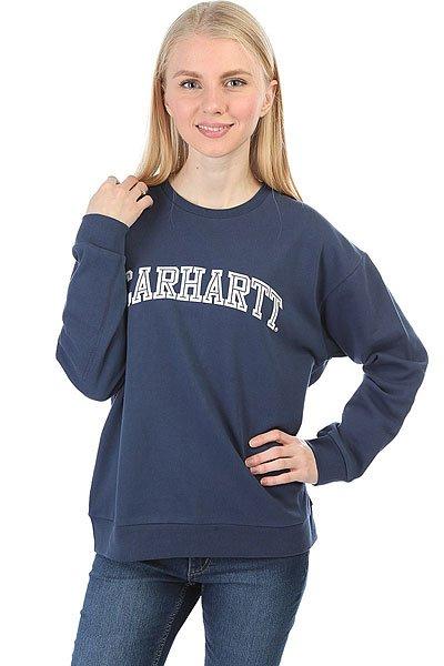 Толстовка классическая женская Carhartt WIP Yale Sweatshirt Blue/White<br><br>Цвет: синий<br>Тип: Толстовка классическая<br>Возраст: Взрослый<br>Пол: Женский